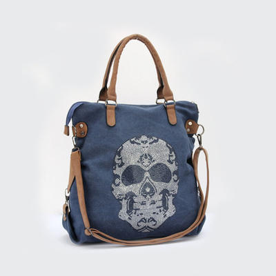 High Quality Fashion Women Rhinestone Skull Design PU Handler Canvas Shoulder Bags