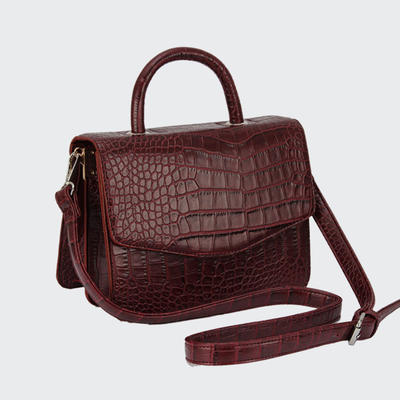 Fashion Crocodile Grain PU Lady Cross Body Bag High Quality Two Pocket inside Women Hand Bag