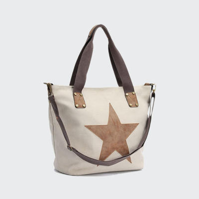 Popular Fashion Lady Canvas Handbag With PU Star New Design Women Canvas Bag