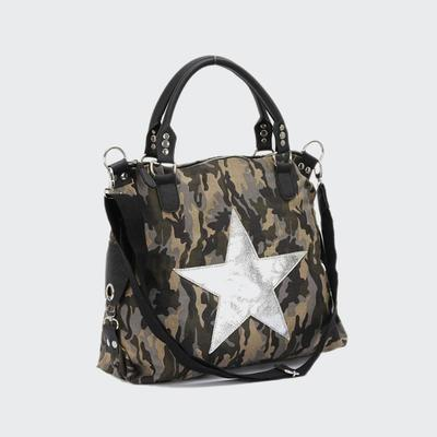 Classic Popular Camouflage 16AN Canvas Women Fashion Handbag With PU Star And Long Shoulder Strap