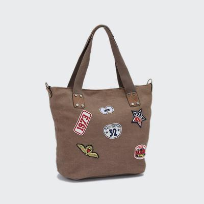 Popular Fashion Lady Canvas Handbag With PU Star New Design Women Canvas Bag LR-H05